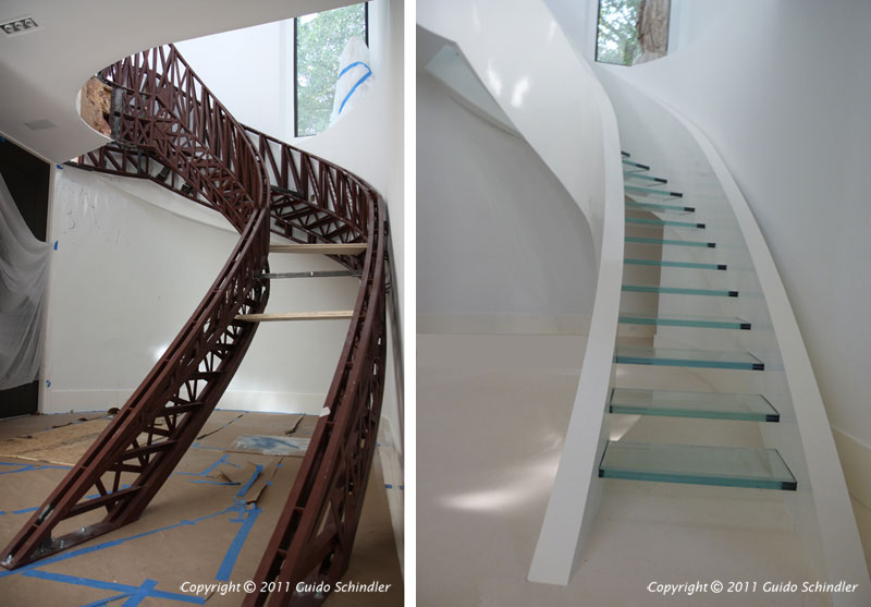 Custom Floating Glass Staircase In Steel Amp Wood