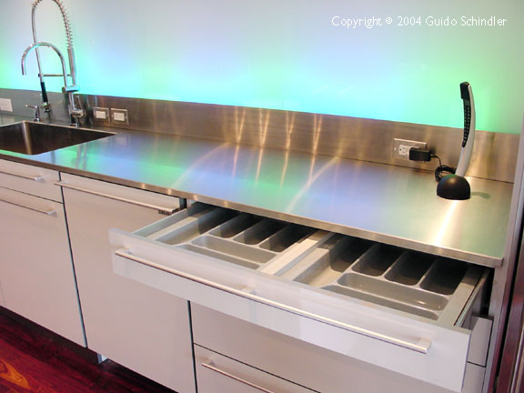 Kitchen Island With Fabricated Stainless Steel Countertop.